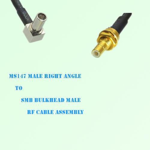 MS147 Male Right Angle to SMB Bulkhead Male RF Cable Assembly