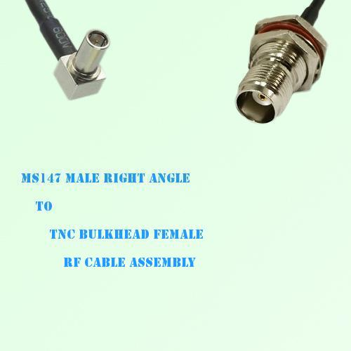MS147 Male Right Angle to TNC Bulkhead Female RF Cable Assembly