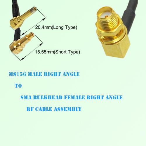 MS156 Male R/A to SMA Bulkhead Female R/A RF Cable Assembly