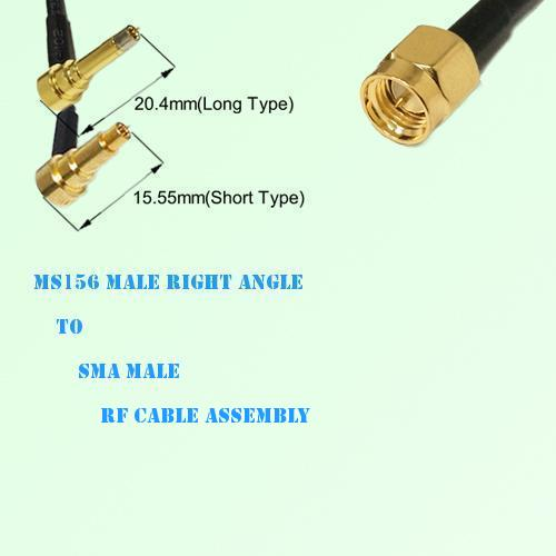 MS156 Male Right Angle to SMA Male RF Cable Assembly