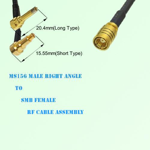 MS156 Male Right Angle to SMB Female RF Cable Assembly