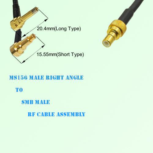 MS156 Male Right Angle to SMB Male RF Cable Assembly