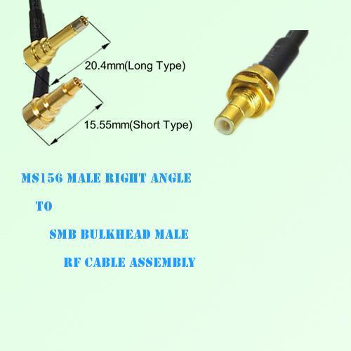 MS156 Male Right Angle to SMB Bulkhead Male RF Cable Assembly