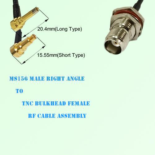 MS156 Male Right Angle to TNC Bulkhead Female RF Cable Assembly