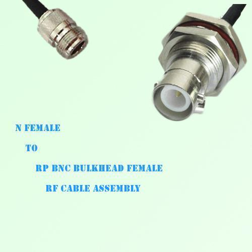 N Female to RP BNC Bulkhead Female RF Cable Assembly