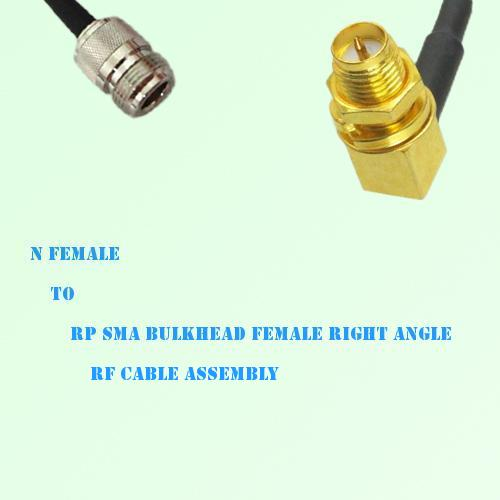 N Female to RP SMA Bulkhead Female Right Angle RF Cable Assembly