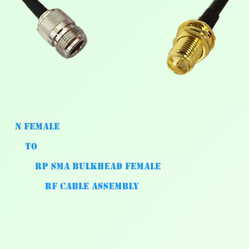 N Female to RP SMA Bulkhead Female RF Cable Assembly