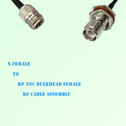 N Female to RP TNC Bulkhead Female RF Cable Assembly
