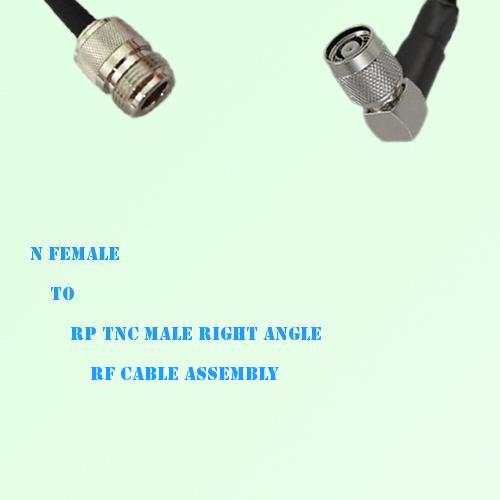 N Female to RP TNC Male Right Angle RF Cable Assembly