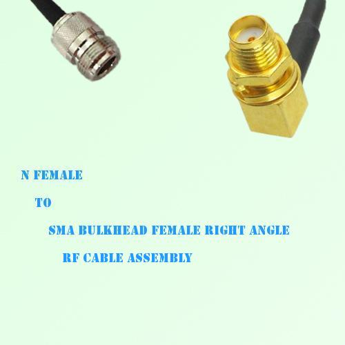 N Female to SMA Bulkhead Female Right Angle RF Cable Assembly