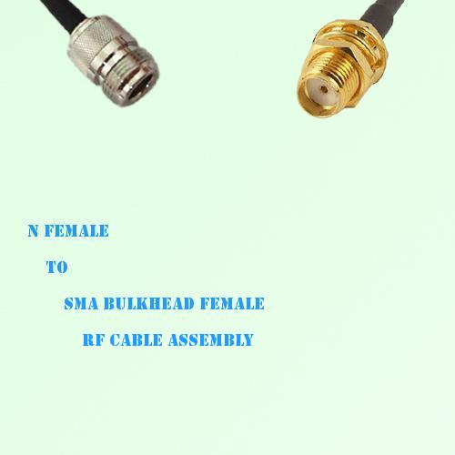 N Female to SMA Bulkhead Female RF Cable Assembly