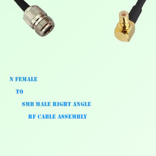 N Female to SMB Male Right Angle RF Cable Assembly