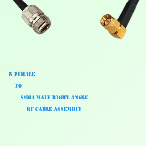 N Female to SSMA Male Right Angle RF Cable Assembly