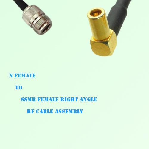 N Female to SSMB Female Right Angle RF Cable Assembly