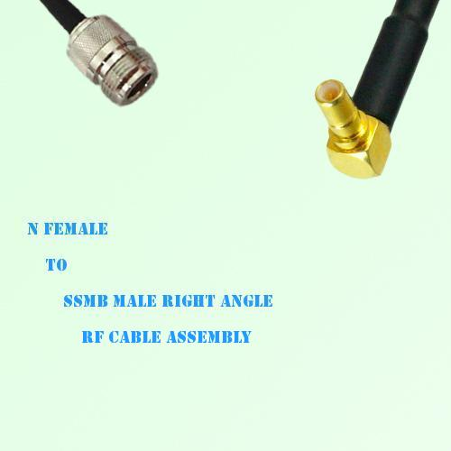 N Female to SSMB Male Right Angle RF Cable Assembly
