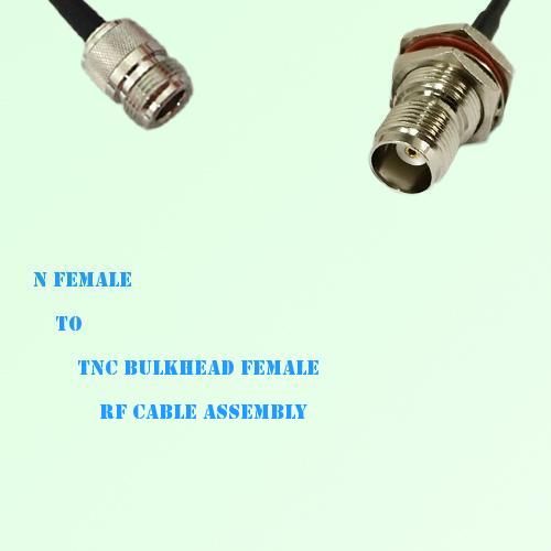 N Female to TNC Bulkhead Female RF Cable Assembly