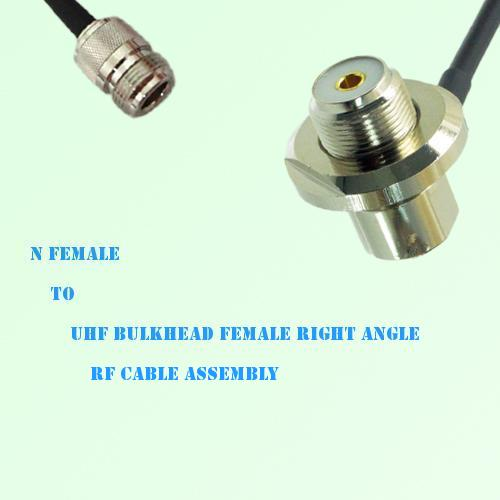 N Female to UHF Bulkhead Female Right Angle RF Cable Assembly