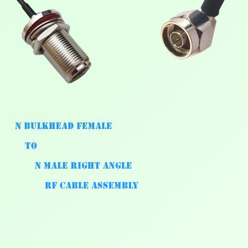 N Bulkhead Female to N Male Right Angle RF Cable Assembly
