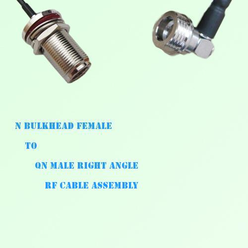 N Bulkhead Female to QN Male Right Angle RF Cable Assembly