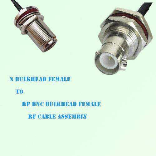 N Bulkhead Female to RP BNC Bulkhead Female RF Cable Assembly