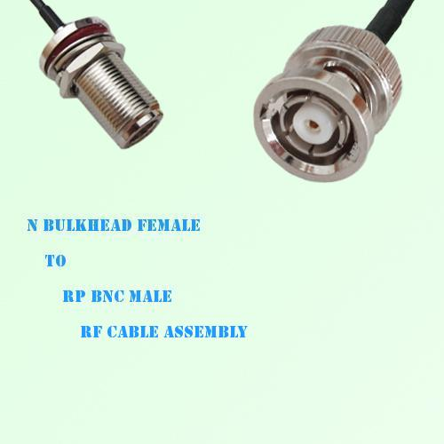 N Bulkhead Female to RP BNC Male RF Cable Assembly