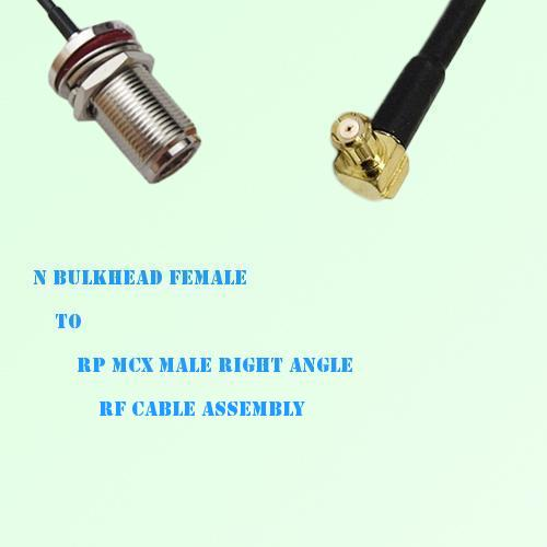 N Bulkhead Female to RP MCX Male Right Angle RF Cable Assembly