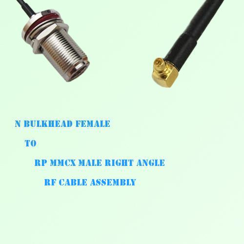 N Bulkhead Female to RP MMCX Male Right Angle RF Cable Assembly