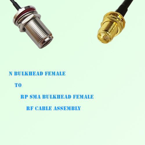 N Bulkhead Female to RP SMA Bulkhead Female RF Cable Assembly