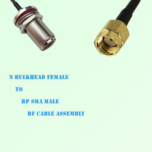N Bulkhead Female to RP SMA Male RF Cable Assembly