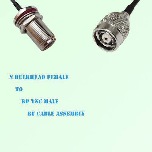 N Bulkhead Female to RP TNC Male RF Cable Assembly