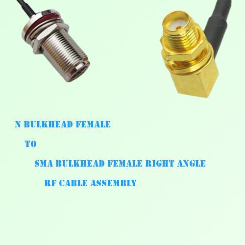 N Bulkhead Female to SMA Bulkhead Female Right Angle RF Cable Assembly