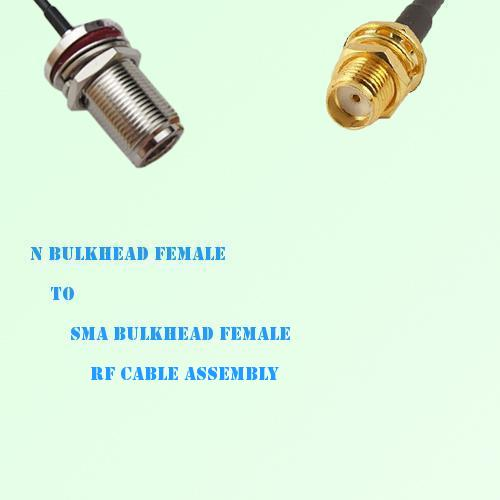 N Bulkhead Female to SMA Bulkhead Female RF Cable Assembly