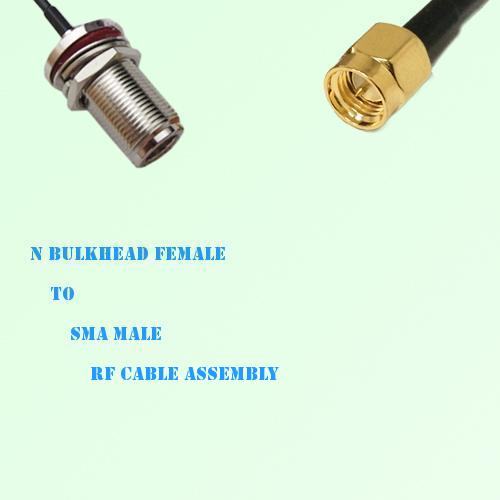N Bulkhead Female to SMA Male RF Cable Assembly