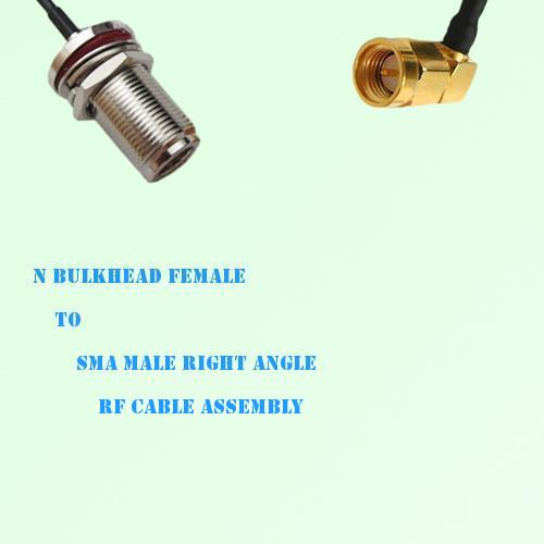 N Bulkhead Female to SMA Male Right Angle RF Cable Assembly