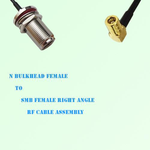 N Bulkhead Female to SMB Female Right Angle RF Cable Assembly