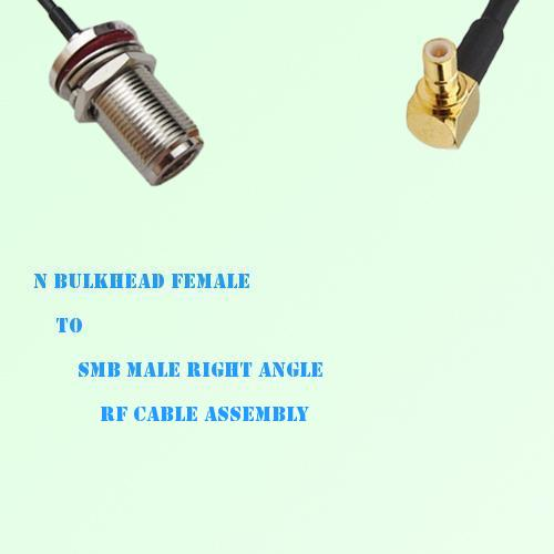 N Bulkhead Female to SMB Male Right Angle RF Cable Assembly