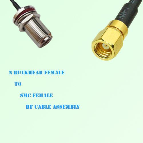 N Bulkhead Female to SMC Female RF Cable Assembly