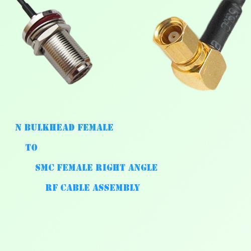 N Bulkhead Female to SMC Female Right Angle RF Cable Assembly
