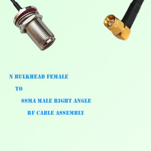 N Bulkhead Female to SSMA Male Right Angle RF Cable Assembly