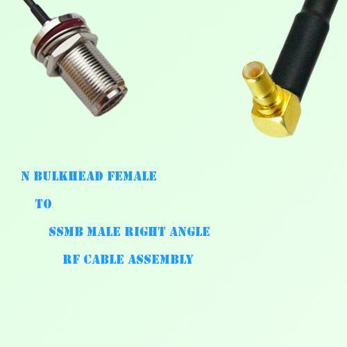 N Bulkhead Female to SSMB Male Right Angle RF Cable Assembly