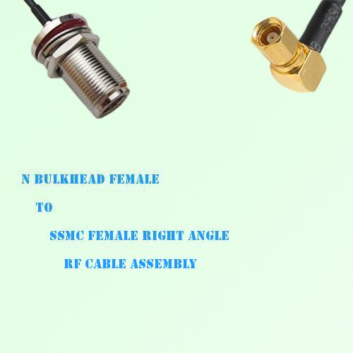 N Bulkhead Female to SSMC Female Right Angle RF Cable Assembly
