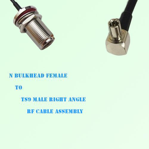 N Bulkhead Female to TS9 Male Right Angle RF Cable Assembly