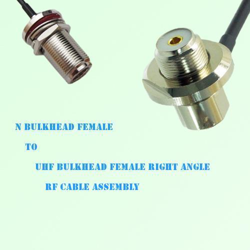 N Bulkhead Female to UHF Bulkhead Female Right Angle RF Cable Assembly