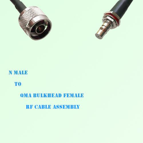 N Male to QMA Bulkhead Female RF Cable Assembly