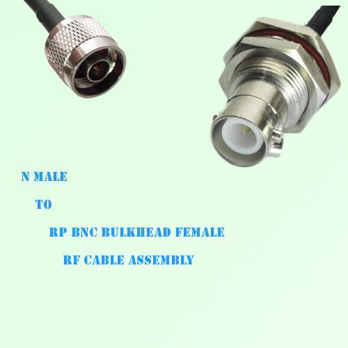 N Male to RP BNC Bulkhead Female RF Cable Assembly