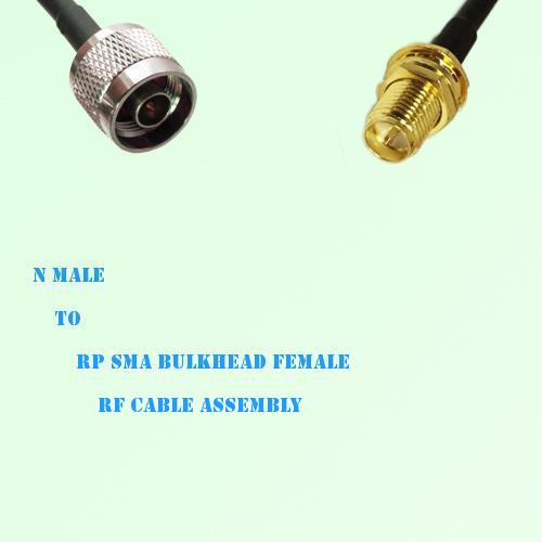 N Male to RP SMA Bulkhead Female RF Cable Assembly