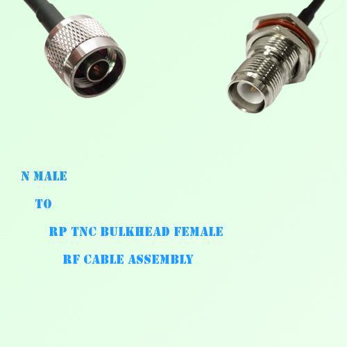 N Male to RP TNC Bulkhead Female RF Cable Assembly