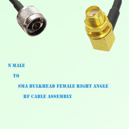 N Male to SMA Bulkhead Female Right Angle RF Cable Assembly
