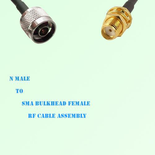 N Male to SMA Bulkhead Female RF Cable Assembly