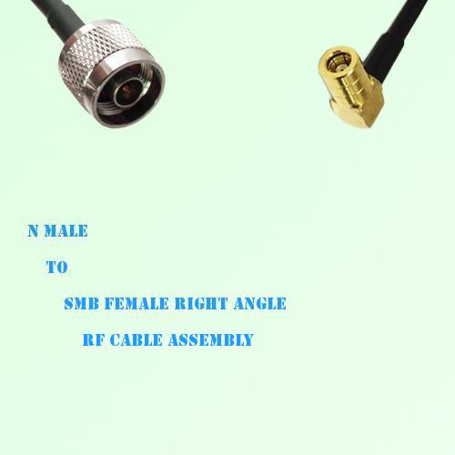 N Male to SMB Female Right Angle RF Cable Assembly